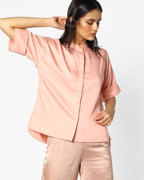 Boxy Shirt With Band Collar By Project Eve WW Casual ( Peach )