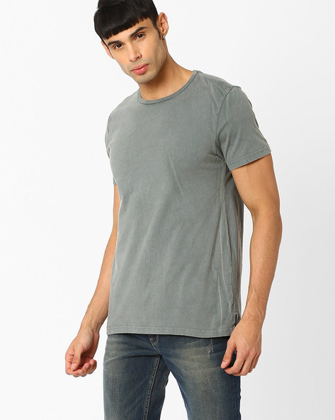 Acid Washed Long Tail T-shirt By AJIO ( Olive )