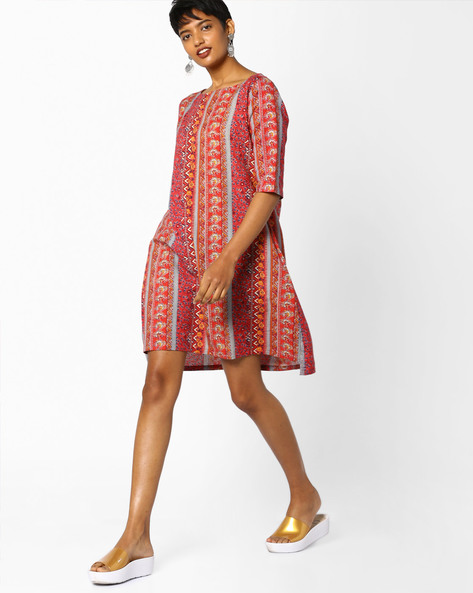 Printed Shift Dress By PE IW Fusion ( Red )