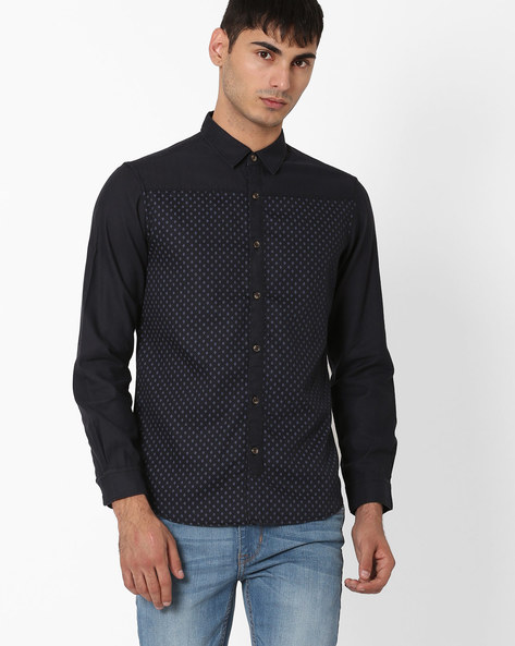 Cut & Sew Slim Fit Shirt By AJIO ( Navy )