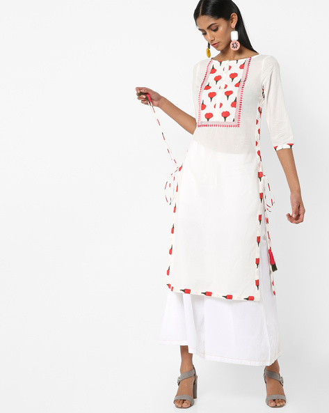 Printed With Straight Kurta With Tassel Tie-Ups By AJIO ( Ivory )