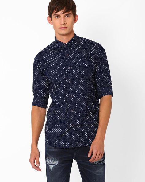 Polka Dot Print Slim Fit Shirt By Nature Casuals ( Navyblue )