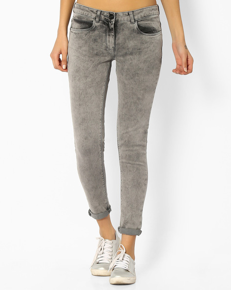 Low-Rise Skinny Jeans By Ginger By Lifestyle ( Grey )