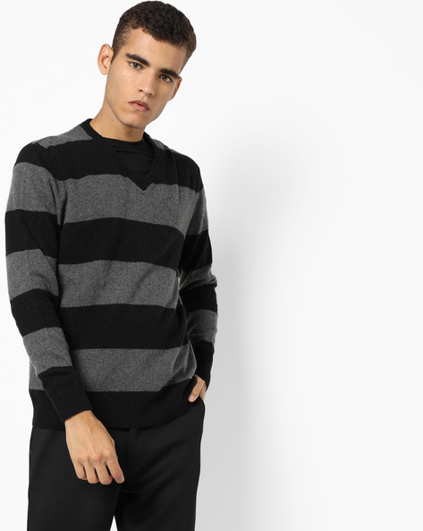 Striped V-Neck Sweater By FLYING MACHINE ( Assorted )