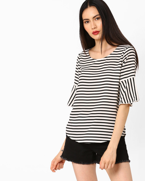Striped Top With Flared Sleeves By AJIO ( Black )