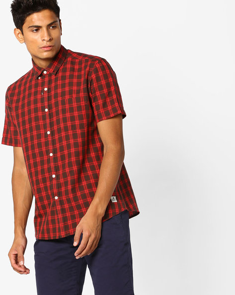 Checked Shirt With Button-Down Collar By FLYING MACHINE ( Red )