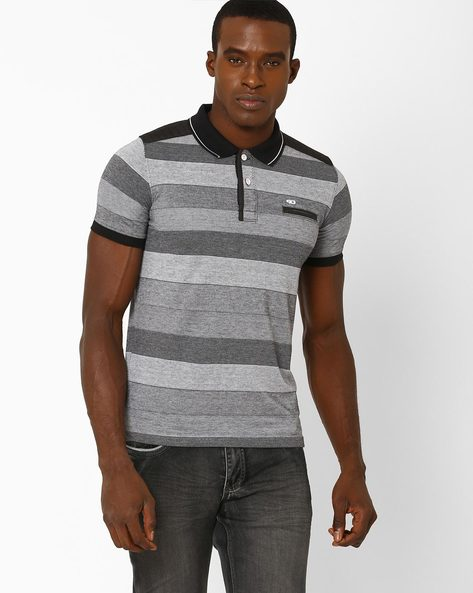 Striped Cotton Polo T-shirt By DUKE ( Black )
