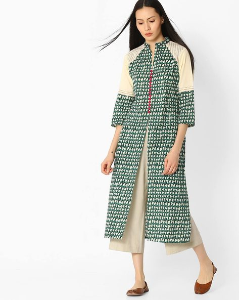 Checked Straight Kurta With Button Placket By Jaipur Kurti ( Green )