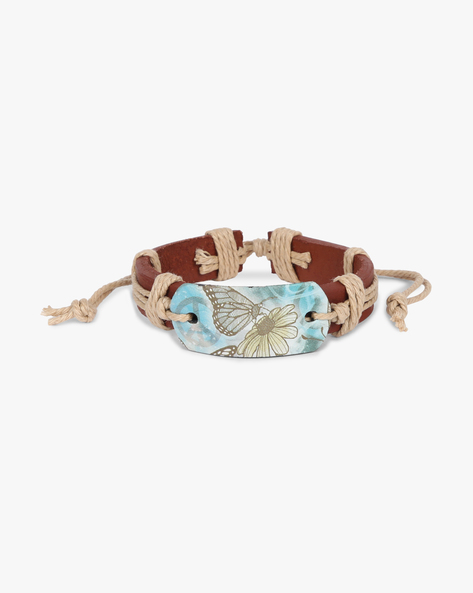 Tie-Up Bracelet With Printed Centrepiece By ALPHA MAN ( Beige )
