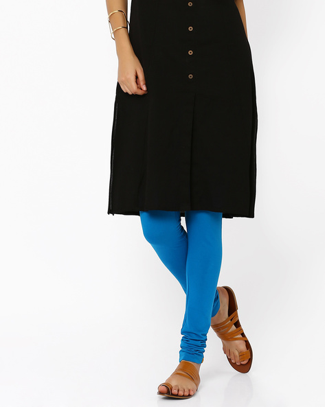 Cotton Churidar Leggings By AURELIA ( Blue ) - 440686899003