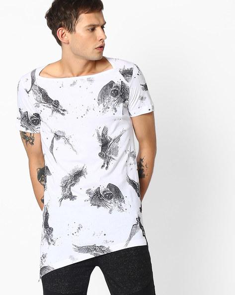 Printed Longline T-shirt With Asymmetric Hem By KULTPRIT ( White )