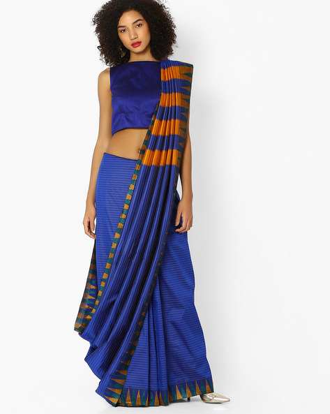 Striped Saree With Embroidery By Vastrangi ( Blue )