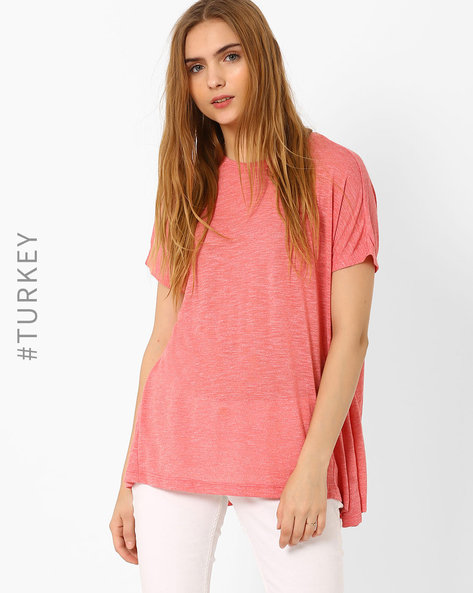 Crew-Neck Top With Dipped Hem By TIFFANY & TOMATO ( Coral )