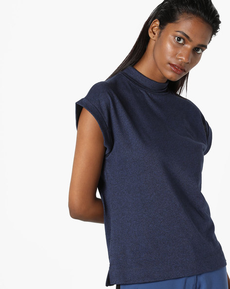 Turtle-Neck Heathered Top By AJIO ( Navyblue )