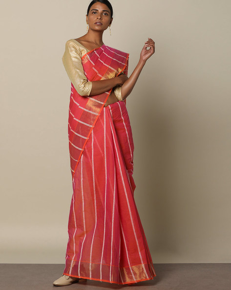 Textured Cotton Saree With Striped Pallu By Indie Picks ( Pink )