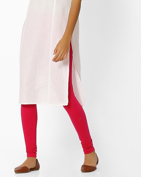 Knitted Leggings With Elasticated Waist By Shree ( Pink )