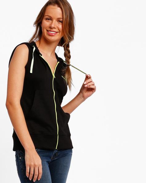 Sleeveless Hooded Sweatshirt By TEAM SPIRIT ( Black )
