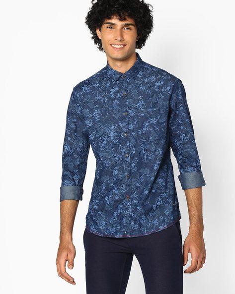 Floral Print Cotton Shirt By NETPLAY ( Darkblue )