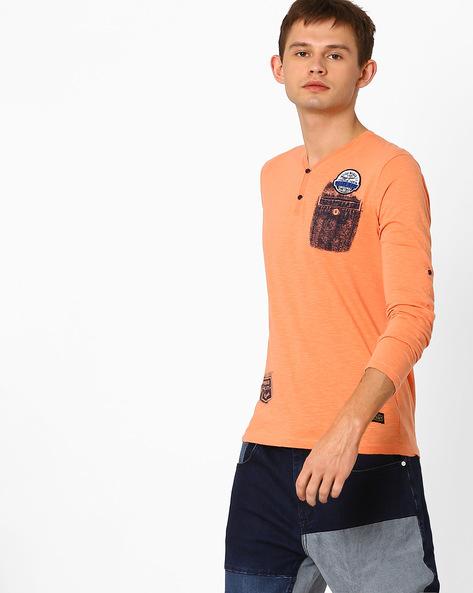 Slub Knit Henley T-shirt By Killer ( Orange )