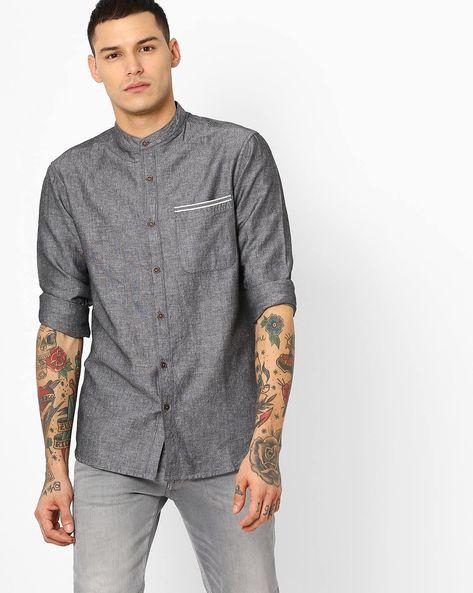 Linen Shirt With Mandarin Collar By AJIO ( Grey )