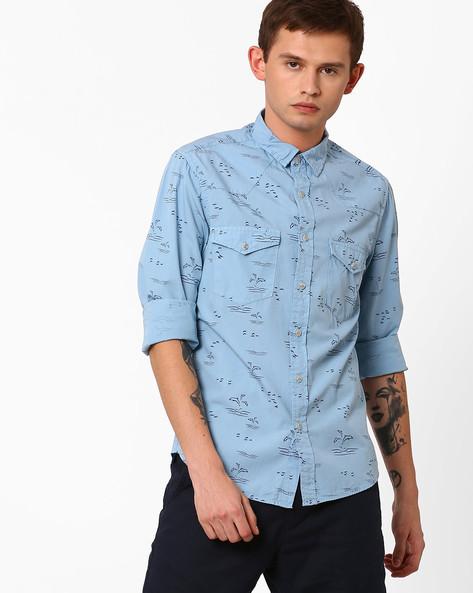 Dolphin Print Slim Fit Shirt By AJIO ( Blue )
