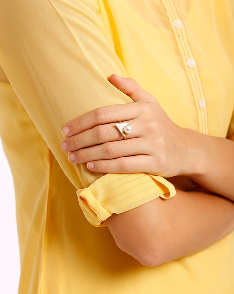 Triangular Ring With Faux Pearl By AJIO ( Gold )