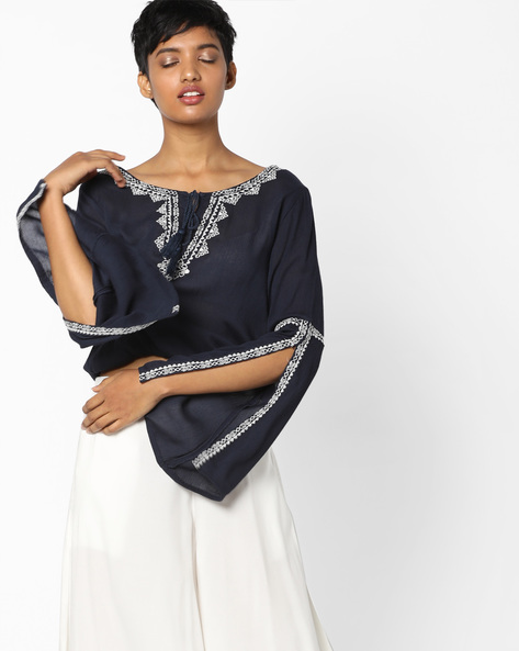 Embroidered Top With Bell Sleeves By DNMX ( Navy )