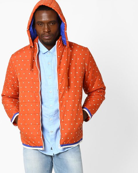 Printed Regular Fit Quilted Jacket By Fort Collins ( Mustard )