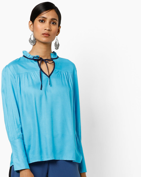 Ruffled Top With Tie-Up By AJIO ( Blue )