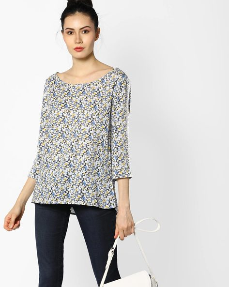 Floral Print Top With Lace Insets By BOSSINI ( White )