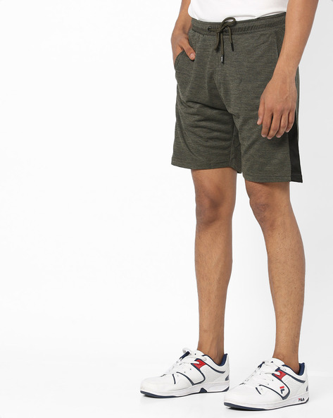 Panelled Shorts With Drawstring Waist By PROLINE ( Olive )