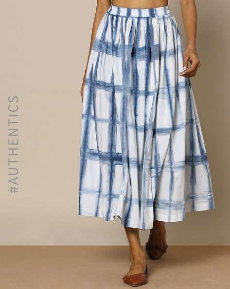 Hand-Dyed Shibori Indigo Cotton Skirt By ANANDA ( Indigo ) - 460095175003