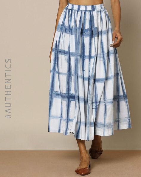 Hand Tie-Dyed Shibori Natural Indigo Cotton Skirt By ANANDA ( Indigo ) - 460095175001