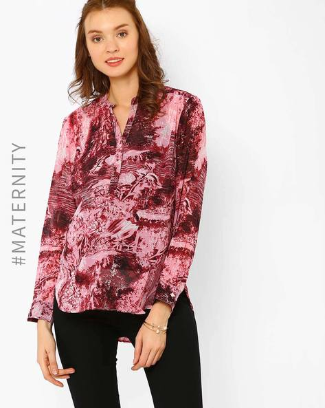 Printed Maternity Top By Oxolloxo ( Pink ) - 460012103008