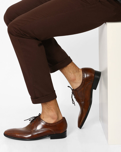 N9-Treated Leather Derby Shoes By AJIO ( Brown )