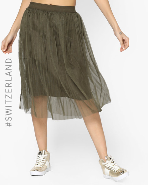 Sheer Midi Skirt By TALLY WEiJL ( Olive )