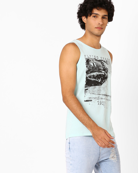 Graphic Print Sleeveless T-shirt By AJIO ( Lightblue )