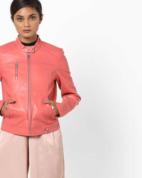 Front-Zip Collared Jacket By Vero Moda ( Lightred )