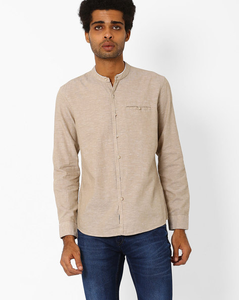 Casual Shirt With Band Collar By NETPLAY ( Khaki )