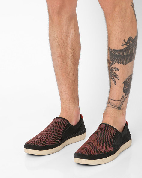 Genuine Leather Textured Slip-Ons By WOODLAND ( Black )