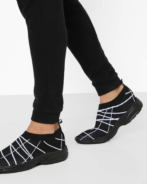 Printed Slip-On Mesh Shoes By AJIO ( Black )