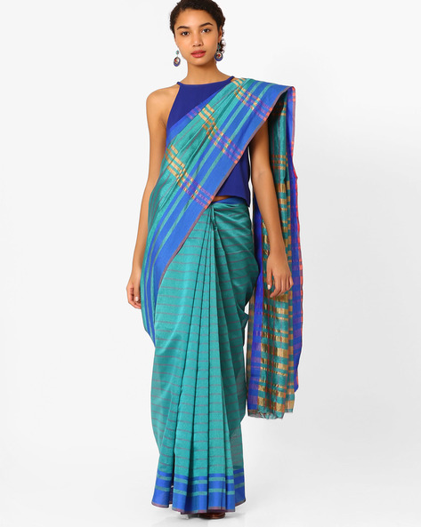 Striped Saree With Zari Border By Florence ( Blue )