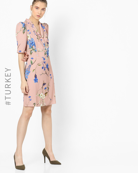 Floral Print Dress With Notched Lapel By TRENDYOL ( Pink )