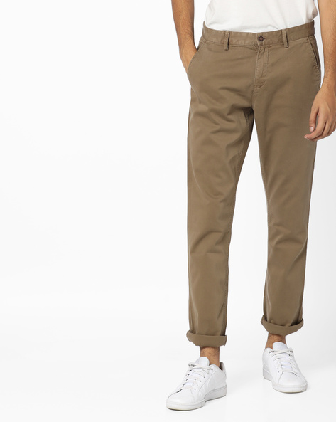 Overdyed Slim Fit Flat-Front Trousers By AJIO ( Rust )