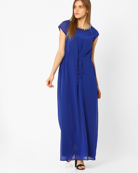 Maxi Dress With Embellished Neck By CHM ( Mediumblue )