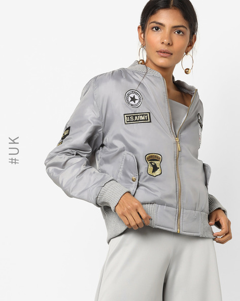 Front-Zip Jacket With Applique By INFLUENCE ( Grey )