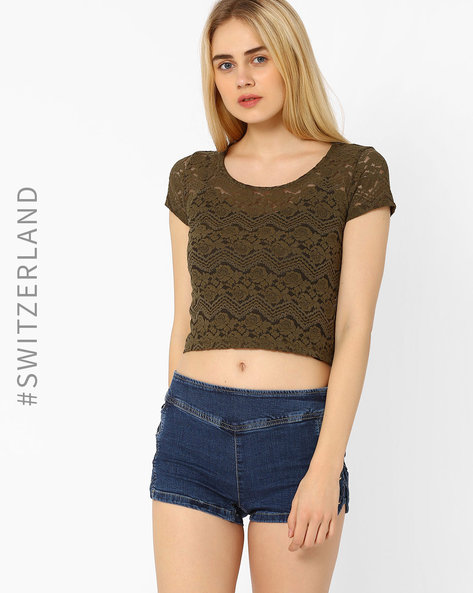 Lace Crop Top By TALLY WEiJL ( Green )