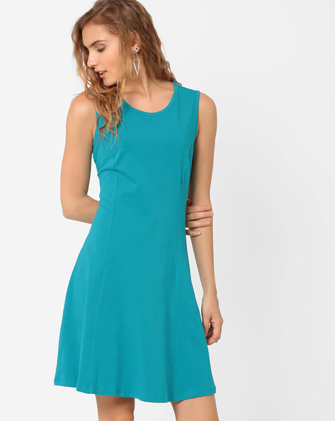 Ribbed Tank Dress By AJIO ( Blue )