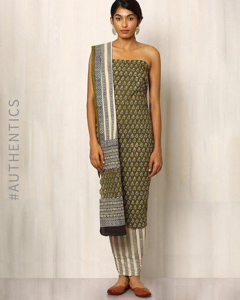 Bagru Print Cotton Dress Material By Indie Picks ( Seagreen )