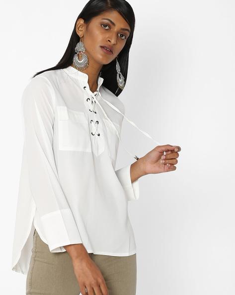 Mandarin Collar Top With Tie-Up By Tarama ( White )
